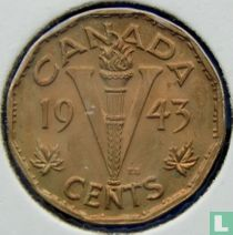 """Canada 5 cents 1943 """"Supporting the war effort"""""""