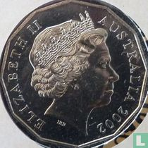 """Australia 50 cents 2002 """"50th anniversary Accession of Queen Elizabeth II to the throne"""""""