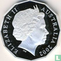 """Australia 50 cents 2002 (PROOF) """"50th anniversary Accession of Queen Elizabeth II to the throne"""""""