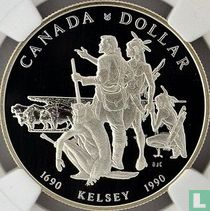 """Canada 1 dollar 1990 (PROOF) """"300th anniversary of Henry Kelsey's exploration of the Canadian Prairies"""""""