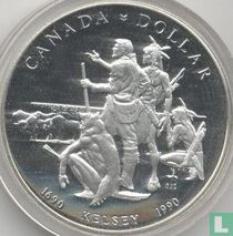 """Canada 1 dollar 1990 """"300th anniversary of Henry Kelsey's exploration of the Canadian Prairies"""""""