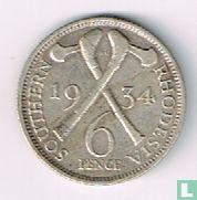 Zuid-Rhodesië 6 pence 1934
