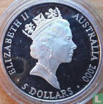 """Australië 5 dollars 2000 (PROOF) """"Summer Olympics in Sydney - Two dancing figures in dream circle"""""""