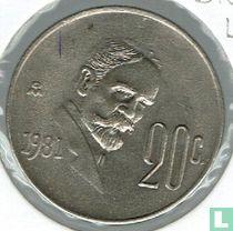 Mexico 20 centavos 1981 (gesloten 8, laag jaartal)