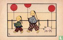 Twee Chineesjes en varken met ballonnen