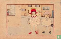 Twee meisjes lopen hand in hand op straat