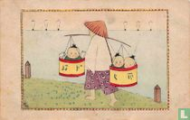 Chinees draagt kinderen in manden