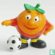 Mandarin with soccer ball