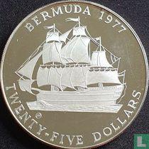 "Bermuda 25 dollars 1977 (PROOF - met CHI) ""25th anniversary  Accession of Queen Elizabeth II"""
