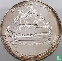 "Bermuda 25 dollars 1977 (met CHI) ""25th anniversary  Accession of Queen Elizabeth II"""