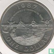 "Bermuda 1 dollar 1987 (koper-nikkel) ""50th anniversary of commercial air travel"""