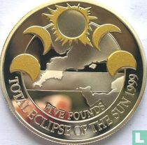 "Alderney 5 pounds 1999 (PROOF) ""Total Eclipse of the Sun"""