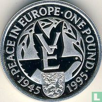 "Alderney 1 pound 1995 (PROOF - zilver) ""50th anniversary End of World War II"""