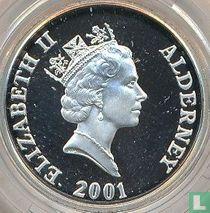 "Alderney 1 pound 2001 (PROOF) ""75th Birthday of Queen Elizabeth II"""
