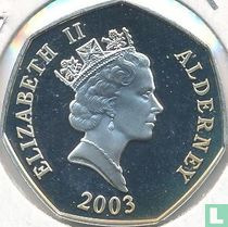 "Alderney 50 pence 2003 (PROOF) ""50th anniversary Coronation of Queen Elizabeth II - Royal coach"""