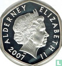 "Alderney 5 pounds 2007 (PROOF) ""60th Wedding anniversary of Queen Elizabeth and Prince Philip - Couple outside Westminster abbey"""