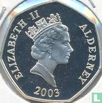 "Alderney 50 pence 2003 (PROOF) ""50th anniversary Coronation of Queen Elizabeth II - Queen Elizabeth II seated on throne"""