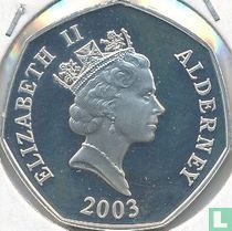 "Alderney 50 pence 2003 (PROOF) ""50th anniversary Coronation of Queen Elizabeth II - St Edward's crown with orb and sceptre"""