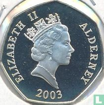 "Alderney 50 pence 2003 (PROOF) ""50th anniversary Coronation of Queen Elizabeth II - Queen Elizabeth II on horseback"""