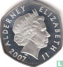 "Alderney 5 pounds 2007 (PROOF) ""60th Wedding anniversary of Queen Elizabeth and Prince Philip - Birth of Prince Charles"""