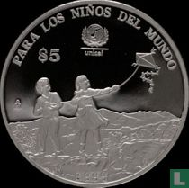 """Mexico 5 pesos 1999 (PROOF) """"UNICEF - For the world's children"""""""