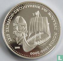 "Benin 1000 francs 2001 (PROOF) ""Leif Eriksson - Discoverer of the New World"""