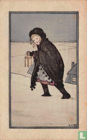 Meisje loopt door sneeuwlandschap met lantaarn