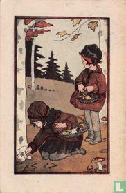 Twee meisjes plukken paddestoelen