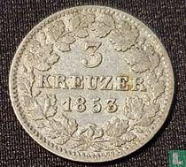 Baden 3 kreuzer 1853