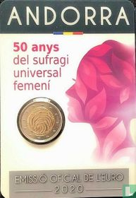 "Andorra 2 euro 2020 (coincard - Govern d'Andorra) ""50 years of women's universal suffrage"""