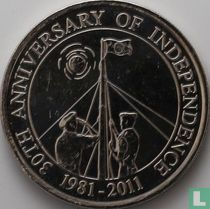 """Belize 2 dollars 2011 """"30th anniversary of independence"""""""