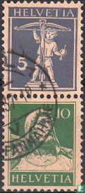 Frankeerzegels met kleurveranderingen