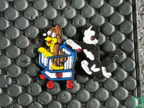 Pif en Hercules met winkelwagentje
