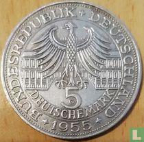 """Duitsland 5 mark 1955 """"300th anniversary Birth of Ludwig Wilhelm Markgraf von Baden"""""""