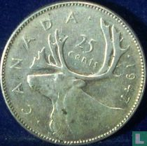 Canada 25 cents 1947 (punt na jaartal)