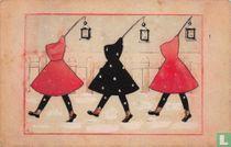 Drie kinderen met capes en lampionnen