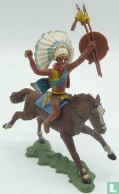Indiaan te paard met dolk en schild