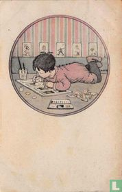 Liggende jongen tekent in boek