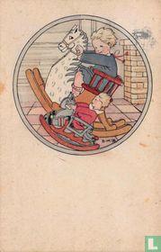 Twee kinderen op hobbelpaarden