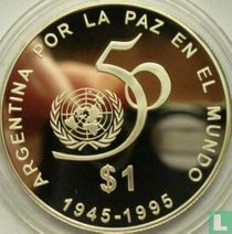 """Argentina 1 peso 1995 (PROOF) """"50th anniversary of the United Nations"""""""