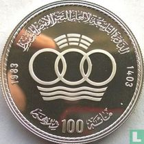 """Marokko 100 dirhams 1983 (AH1403 - PROOF) """"Mediterranean games"""""""