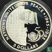 """Barbados 5 dollars 1995 (PROOF) """"50th anniversary of the United Nations"""""""