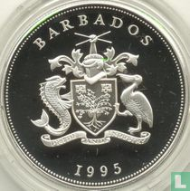 """Barbados 5 dollars 1995 (PROOF) """"First European settlement of Barbados in 1625"""""""