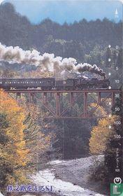 Steam Locomotive crossing a Bridge