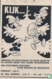 Kijk... Pirrewiet, de Grote Smurf, de Kleine Smurf en de Zwarte Smurf van geleed schuimrubber