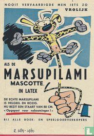 Nooit vervaardigde men iets zo vrolijk als de Marsupilami mascotte in latex