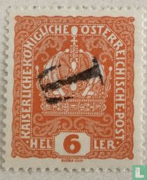 Emperor Franz Joseph and Imperial crown with overprint T