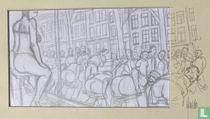 """Originele tekening door Guido van Driel voor zijn boek """"Gasten"""""""
