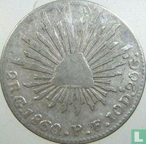 Mexico 2 reales 1860 (Go PF)