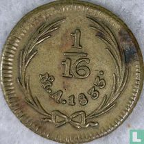 Mexico 1/16 real 1833 (messing)